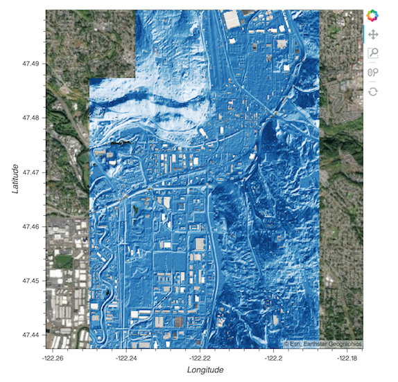 Visualizing lidar data over the Seattle area